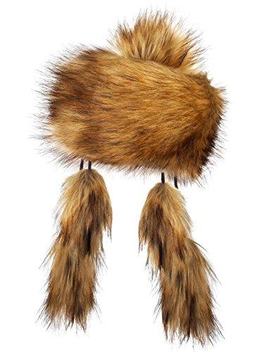 Futrzane Faux Fox Fur Winter Mongolian Hat Women Pompom Cossack for Ladies (Honey) ()