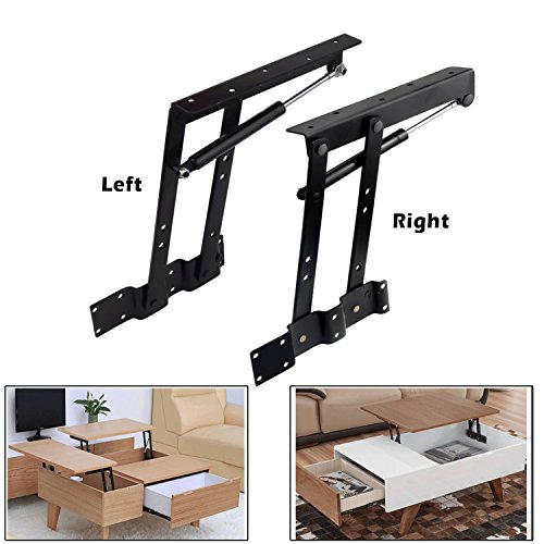 (2pcs Folding Lift up Top Coffee Table Lifting Frame Desk Mechanism Hardware Fitting Hinge Spring Standing Rack Hinge Rack Bracket (Gas Hydraulic))