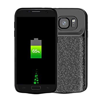 NOVPEAK Funda Bateria Galaxy S7, 4700mAh Batería Externa, Portatil Recargable Cargador de Bateria Carcasa Protectora para Samsung Galaxy S7 (Negro)