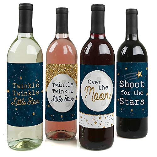 Twinkle Twinkle Little Star - Baby Shower or Birthday Party Decorations for Women and Men - Wine Bottle Label Stickers - Set of 4