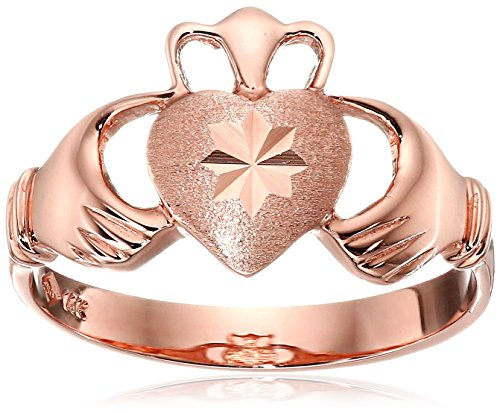 14k Rose Gold Claddagh Ring, Size 7