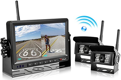 2018 Update Digital Wireless Backup Camera and 7'' Monitor Kit Reverse Rear view Camera Kit For Truck/Trailer/Bus/RV/Pickups/Trailer/Camper/Van When Reversing Parking Car Dash Security Sensore E2