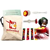 Nature Bird's Complete Hand Held Hummingbird Feeder Kit. 2 hummingbird feeders, training info & more