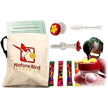 Nature Bird's Complete Hand Held Hummingbird Feeder Kit. 2 hummingbird feeders, training info & more