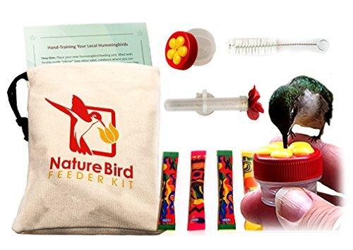Nature Bird's Complete Hand Held Hummingbird Feeder Kit. 2 hummingbird feeders, training info & more (Hummingbird Palm Feeder)