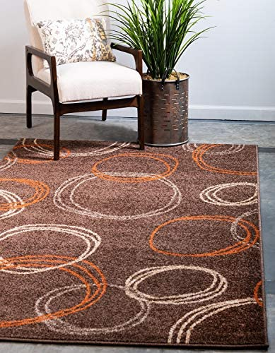 Unique Loom Autumn Collection Modern Circles Warm Toned Brown Area Rug 9 0 x 12 0