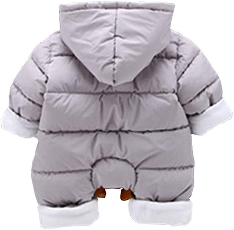 Toddler Baby Unisex Cartoon Animal Romper Padded Outwear Hood Jumpsuit Snowsuit