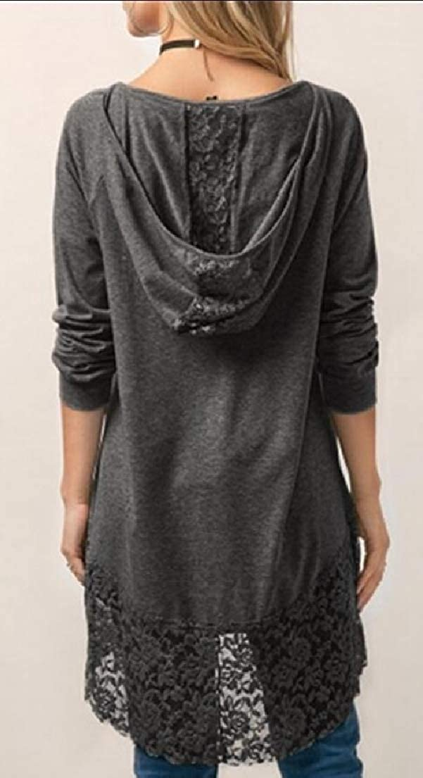 Yayu Women A-line Stitching Trim Casual Dress Lace Long Sleeve Hoodie Tunic Top
