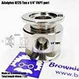 "Vacuum Adaptive Tee Both Ends KF25 Flange and Middle 1/4"" FNPT Port, End to end Length 40 mm"