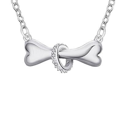 Amazon senfai silver dog bone with crystal ring necklace puppy senfai silver dog bone with crystal ring necklace puppy pet bone pendant necklace 16 inches aloadofball Images