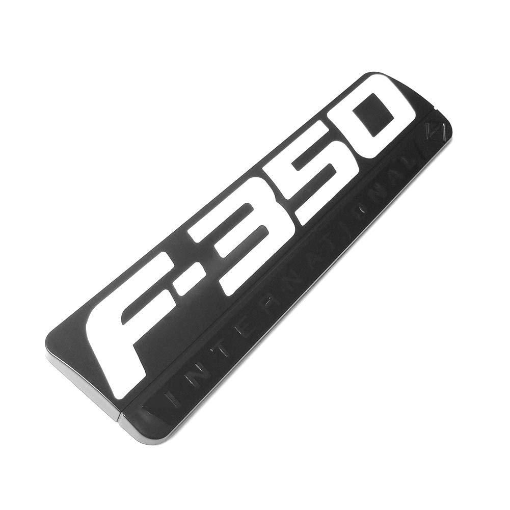 2x OEM F-350 International Side Fender Black Emblems Badge 3D logo Replacement for F350 Pickup White Sanucaraofo