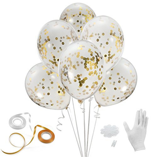 (Gold Confetti Balloons, Haley Party 12 Inches 24 Pieces with Ribbon & Balloon Clips for Party Birthday Wedding Proposal)