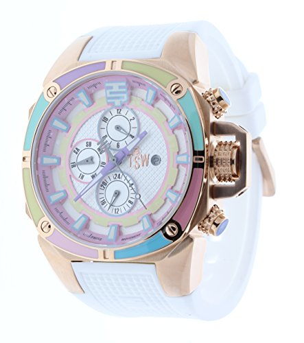 Technosport TS-100-38 Women's Swiss Multifunction Watch Multicolor Bezel & Dial Rose Gold Case & White Strap