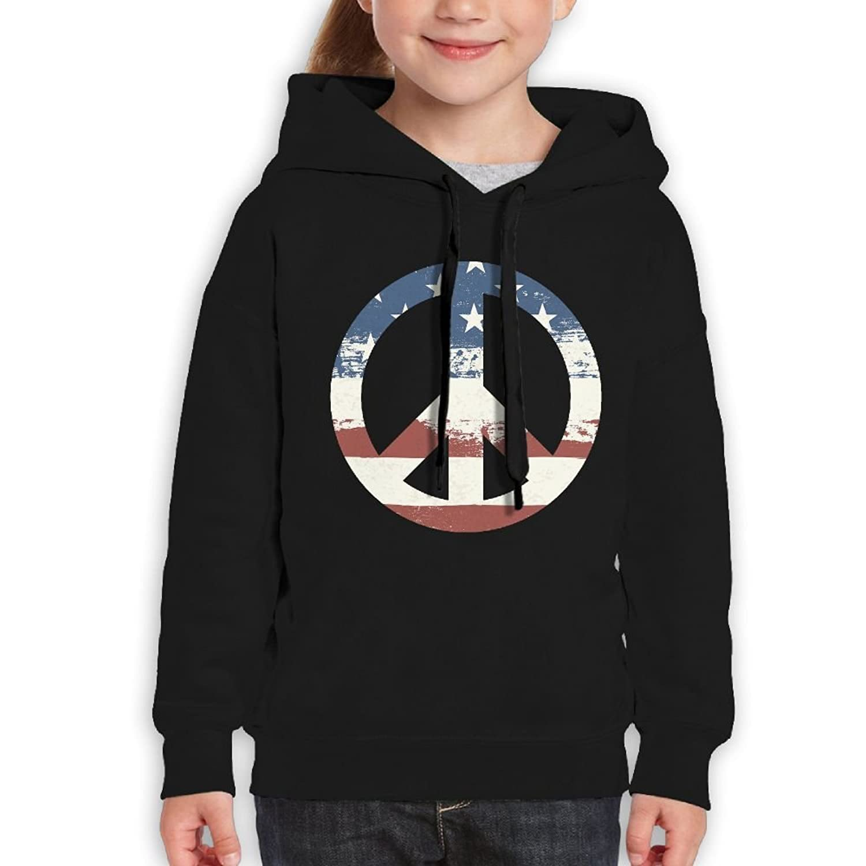 YUTaf Peace American Flag Grunge Girls Boys Teens Cotton Long Sleeve Cute Sweatshirt Hoodie Unisex