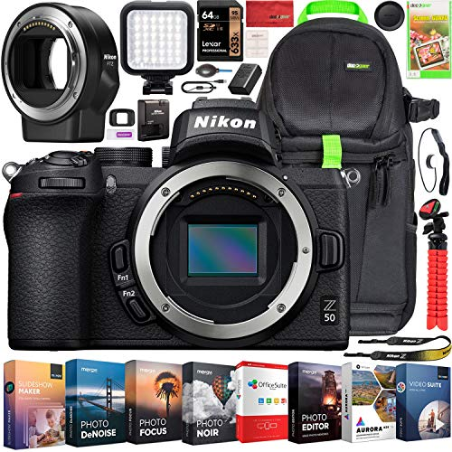 Nikon Z50 Mirrorless Camera Body 4K UHD DX-Format Bundle FTZ Lens Mount Adapter and Deco Gear Backpack Travel Case + Photo Video LED + Compact Tripod + 64GB Card + Software & Accessories