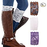 Poplife 3Pc Women Stretch Lace Floral Boot Cuffs Leg Soft Laced Boot Socks-Gold/White/Purple
