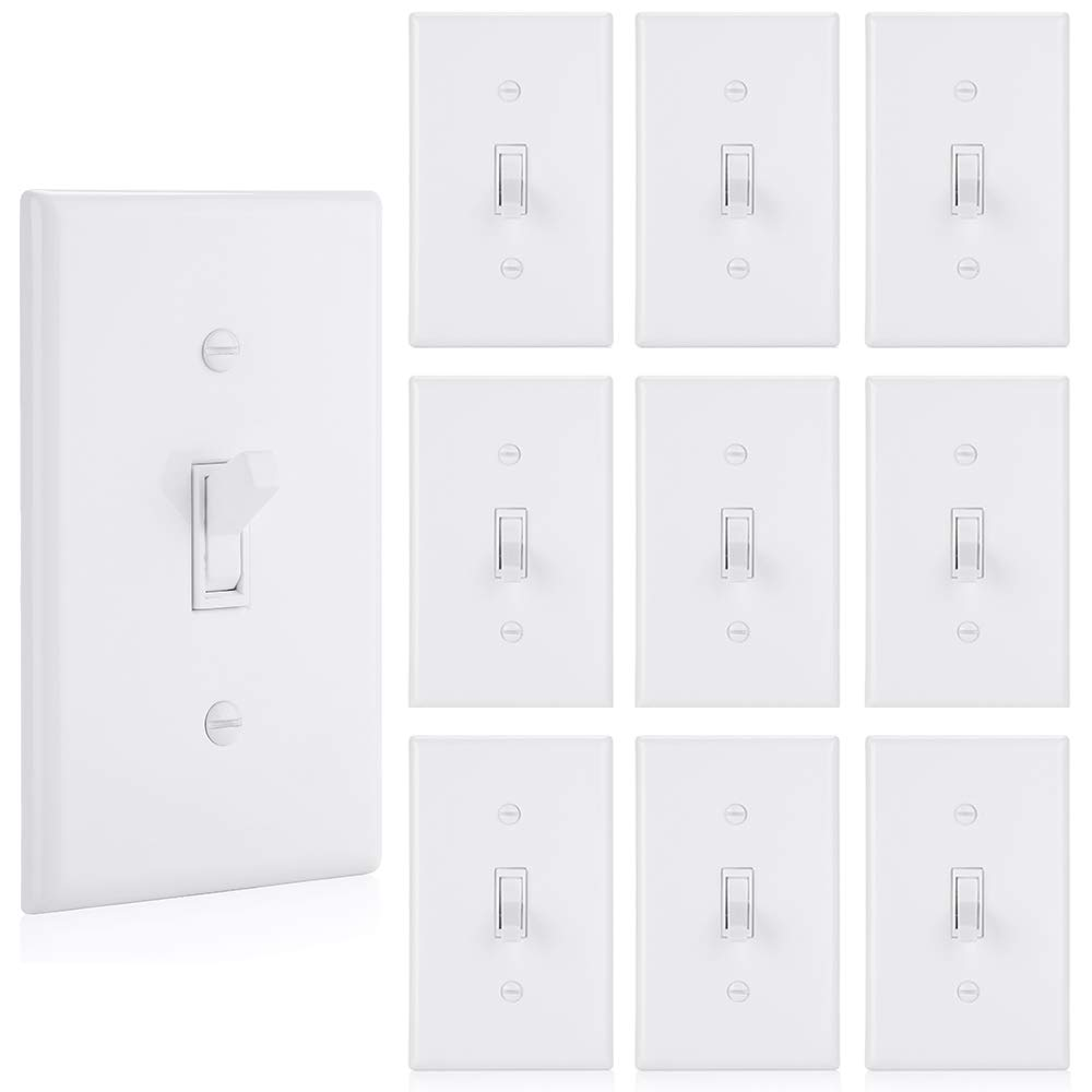 [10 Pack] BESTTEN Single-Pole Toggle Light Switch with Cover, 15 Amps 120-277 Volts, AC Electrical Grounding, Commercial and Residential Grade, Wall Plate Included, UL Listed, White