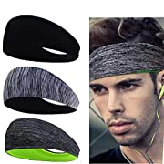 Linlook Sports Headbands for Men/Women – 3 Pack Wide Hair Sweat Band for Running Yoga Gym Walking Cycling Workout…