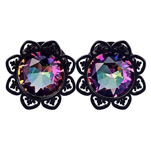 Lianrun 1Pair Black Petal with Crystal Gem Stainless Steel Ear Tunnels Piercing Gauge 5/8