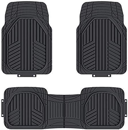 Amazon Basics 3-Piece All-Season Odorless Heavy Duty Rubber Floor Mat for Cars, SUVs and Trucks, Black