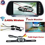 "Auto Wayfeng WF® 7"" LCD Monitor/Mirror Car Wireless Backup Rear View Camera Parking Reverse Kit"