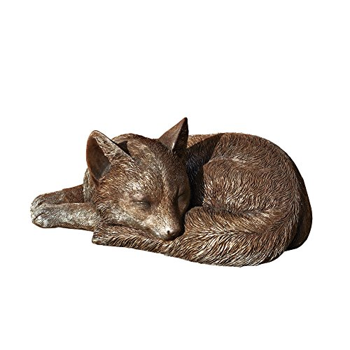 Roman Stone Resin Exclusive Sleeping Fox Statue, 9.45-Inch by 6.38-Inch
