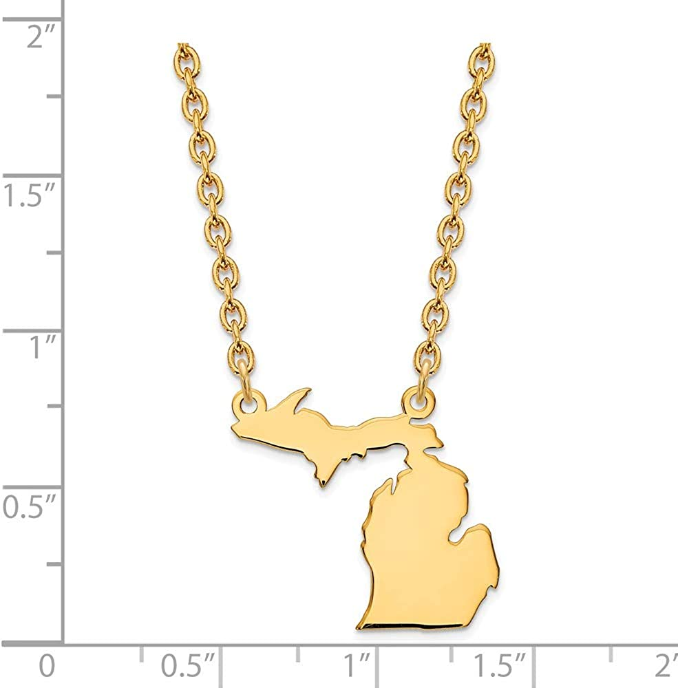 Mia Diamonds 925 Sterling Silver MI State Pendant with Chain Necklace