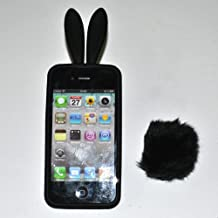 Ec00156h Bunny Rabito Case Silicone TPU Case Cover for Apple Iphone4 4g - Black+ Free Screen Protector