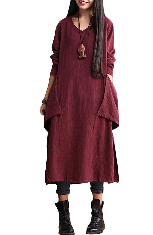 Vogstyle Damen V-Ausschnitt Kleid Langarm Dress