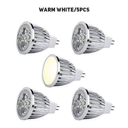5pcs MR16 LED Light Bulbs W/GU5.3, Enjoydeal 50W Equivalent Halogen Replacement Warm White 5W Spotlight 3000K 12v AC/DC