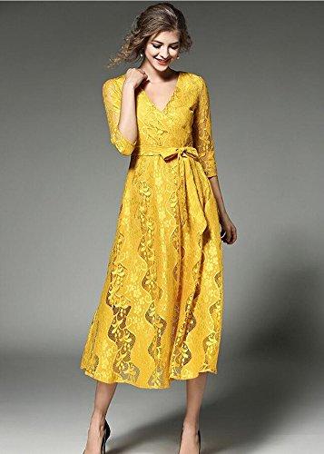 SONGQINGCHENG Última Moda Alta Calidad Blonda Amarilla La Pista De Verano Mujer Vestido con Cuello En V Elegantes Vestidos Midi,El Color De La Imagen,XL: ...