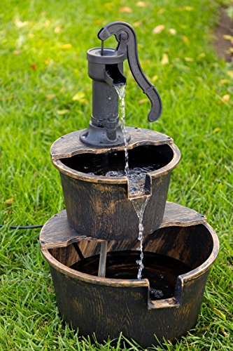 Alpine Corporation TIZ194BZ Alpine 2-Tier Rustic Pump Barrel Waterfall for Garden, Patio, Deck, Porch-Yard Art Decor… - BARREL FOUNTAIN: Garden water fountain is the perfect addition to your outdoor decor. Interior pump keeps the water flowing - just plug it in! RELAXING WATER FLOW: Water trickles from the pump spout into the barrel tiers, adding peaceful ambiance to your outdoor setting RUSTIC LOOK: Realistic faux wood barrels and pump head design for an old-fashioned western feel - patio, outdoor-decor, fountains - 510 1bRnHFL -