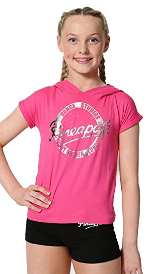 fd5c5c699 Pineapple DANCEWEAR GIRLS Short Sleeved Dance Hooded Top Pink with ...