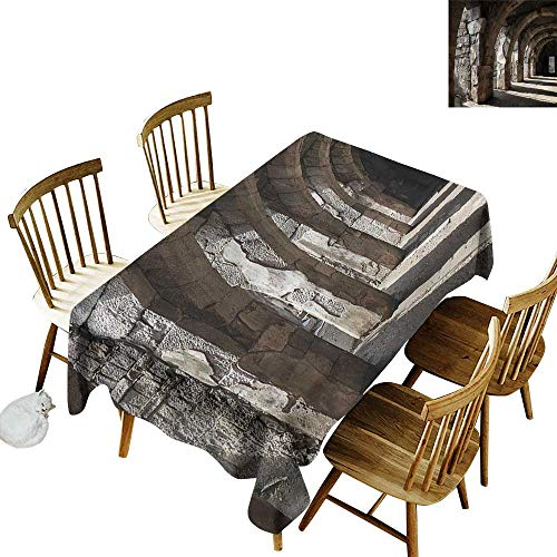 "Sillgt Water Resistant Table Cloth Ancient Dark Shadows Stone Portico Fashions Rectangular 60"" W x 120"" L"