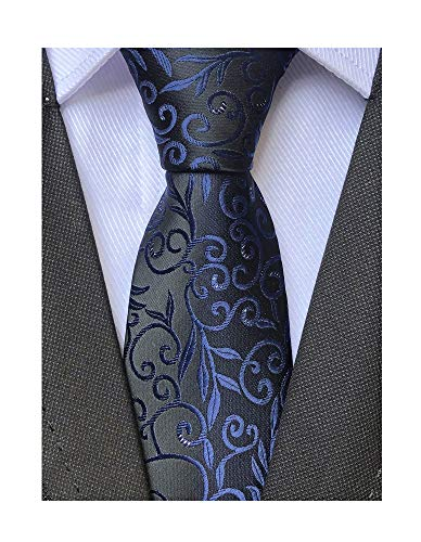 Women Boys Navy Blue Designer Jacquard Silk Tie Gift for Men Formal Self Necktie