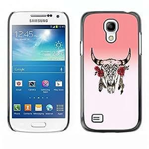 LECELL--Funda protectora / Cubierta / Piel For Samsung Galaxy S4 Mini i9190 MINI VERSION! -- Horns Skull Dead Indian Rose Native --