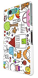 871 - Kids Drawing Sun Car Animals Rainbow Cat Moon.. Design For Sony Xperia Z3 Compact Fashion Trend CASE Back COVER Plastic&Thin Metal