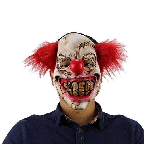 Vivi Do Halloween Horror Toothy Red Hair Clown Mask Adults Costume Party Props -