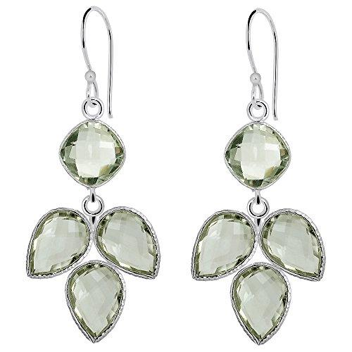 Silver Dangle Earrings For Women AAA Quality 20 Ct. Green Amethyst Earrings Dangling  February Birthstone Earrings   Large Earrings For Women  Dainty Earrings For Women   Hypoallergenic Drop Earrings
