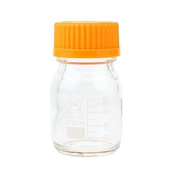 FLAMEER Botellas De Reactivo De Vidrio Redondas Graduadas Con Tapones De Rosca De Línea 100 Ml / 250 Ml / 500 Ml / 1 L - 100 ml: Amazon.es: Hogar
