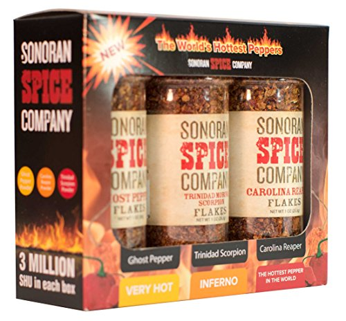 Sonoran Spice Carolina Reaper, Trinidad Scorpion, Ghost Pepper Flake Super Hot Box by Sonoran Spice