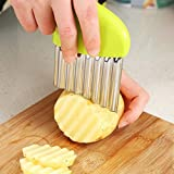 wavy cutter - Wavy Knife, FS Crinkle Cutter Chopping Tool Slicer With Stainless Steel Blade for Veggies Potato Cucumber Carrots French Fries