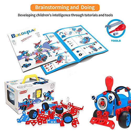 Bxinwo STEM Toys Kit, 6-in-1 Educational Building Blocks Construction Engineering Building Blocks Learning Set for Ages 6 7 8 9 10+ Year Old Boys & Girls (142PCS)
