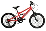 Falcon Oxide Boys' Kids Bike Red/Grey, 12' inch steel frame, 6 speed front and rear suspension system powerful front and rear v brakes