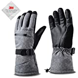 Acokac Men Waterproof Warmest Winter Gloves - Touchscreen 3M-Thinsulate Thermal Insulation for Snow Snowboard Ski Snowboarding Snowmobile Cold Weather(Grey)