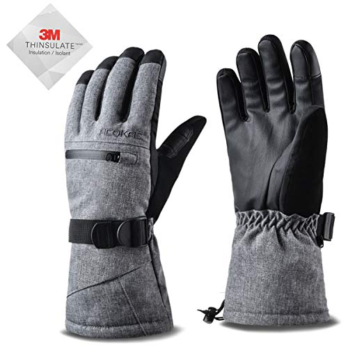 Acokac 3M-Thinsulate Snow Ski Gloves - Warmest Winter Waterproof Touchscreen Snowboard Snowboarding Snowmobile(Grey)