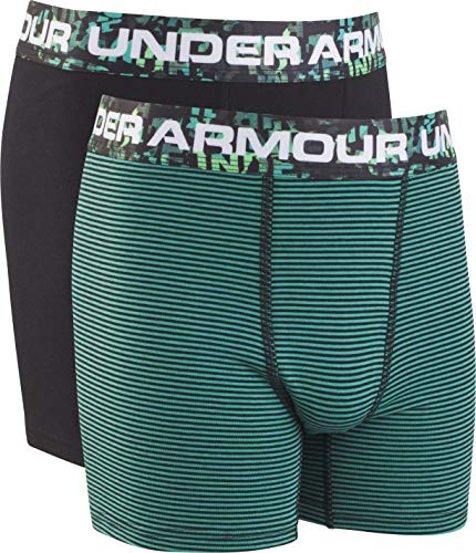 Under Armour Boys' Big' 2 Pack Solid Cotton Boxer Briefs, Green/Black, YSM