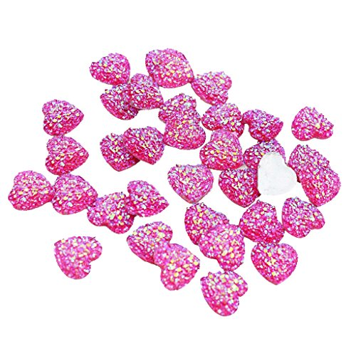 MonkeyJack Wholesale 50 Pieces Charms Heart Shape Flat Back AB Resin Crafts Bling Embellishment 12mm DIY Scrapbooking for Phone/Wedding/Card - rose red - Red Flat Heart Charm
