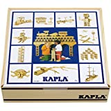 KAPLA 100 Blocks Natural Unfinished Wood Pine Planks with Storage Bin and Guide Book