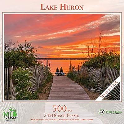 Michigan Gift Set with Scenic Michigan Lake Huron 500 Piece Jigsaw Puzzle, 2 Bags Sour Michi-Gummies Michigan Shaped Candy: Toys & Games